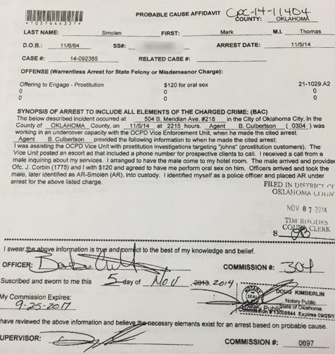 OCPD report regarding Mark Smolen's prostitution arrest.