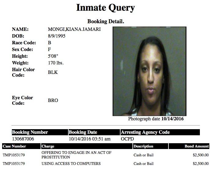 Mongi Kiana Jamari Mugshot Prostitute 2016-10-14.jpg