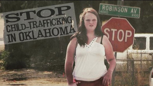 Stop child trafficking in Oklahoman banner.