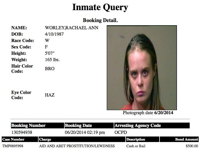 Rachael Ann Worley 27 Mugshot Prostitute 2014-06-20 .jpg
