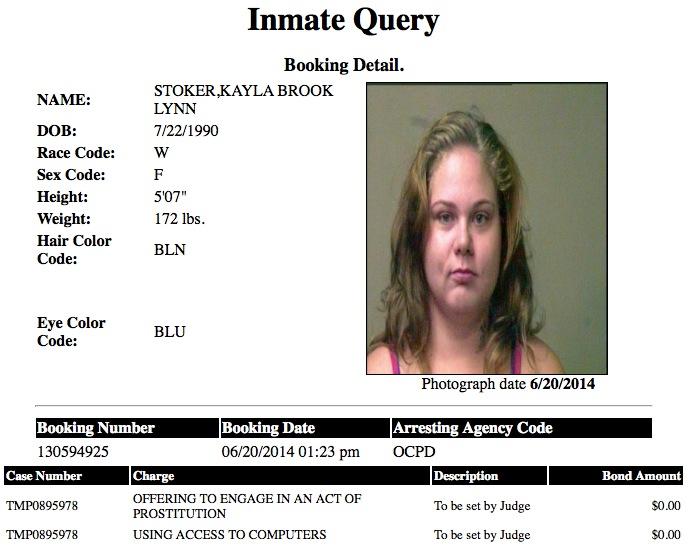 Kayla Brook Lynn 23 Stoker Mugshot Prostitute 2014-06-20.jpg
