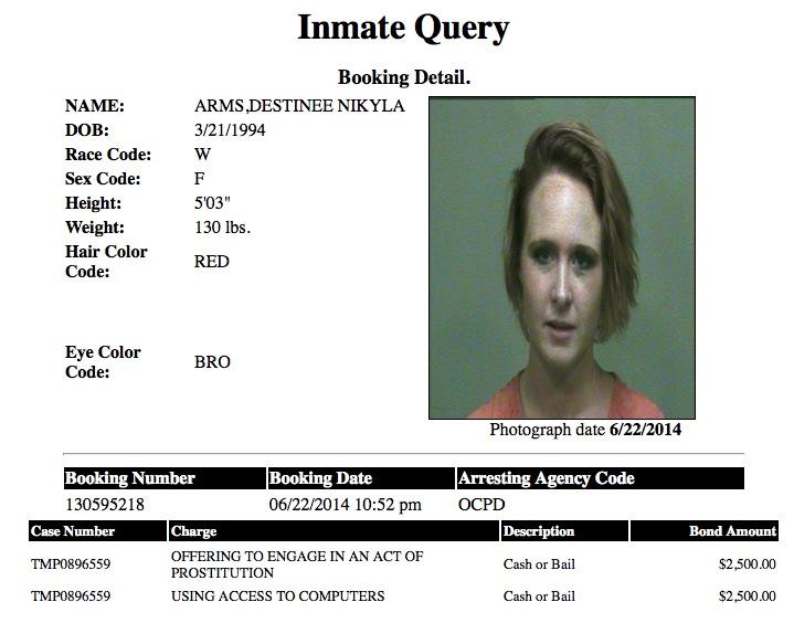 Destiny Nikyla Arms Mugshot Prostitute 2014-06-22.jpg