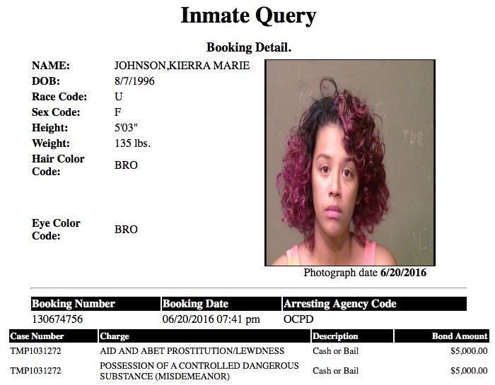 Johnson Kierra Marie Mugshot Prostitute 2016-06-20.jpg