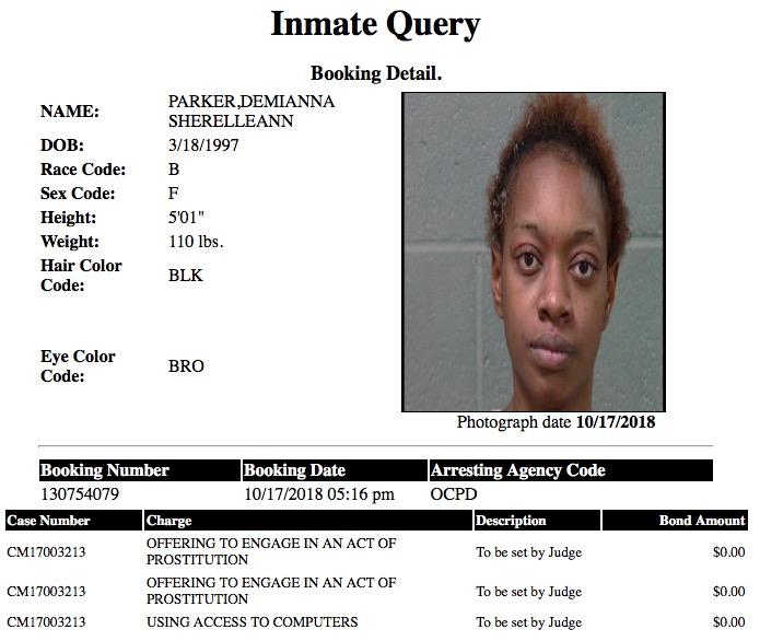 Parker Demianna Sherelleann Mugshot Prostitute 2018-10-17.jpg
