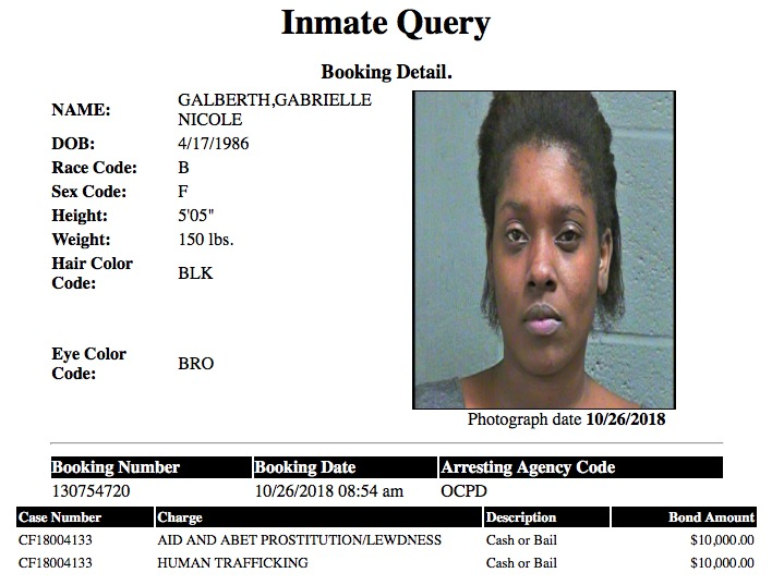 Galberth Gabrrielle Nicole Mugshot Human Trafficking 2018-10-26.jpg