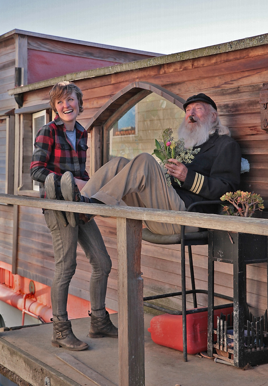 "amber eckley and artist-photographer larry moyer aboard shel silverstein's ""evil eye"" houseboat, sausalito, ca"