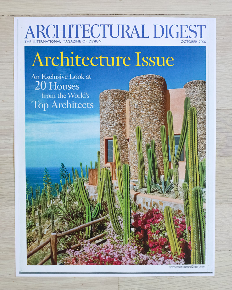 "Architectural Digest  , October 2006 ""Architecture Issue."" Editor-in-chief, Paige Rense. Art Director, Jeffrey Nemeroff. Senior Editor (Architecture), Richard Olsen. Conde Nast Publications, Inc."