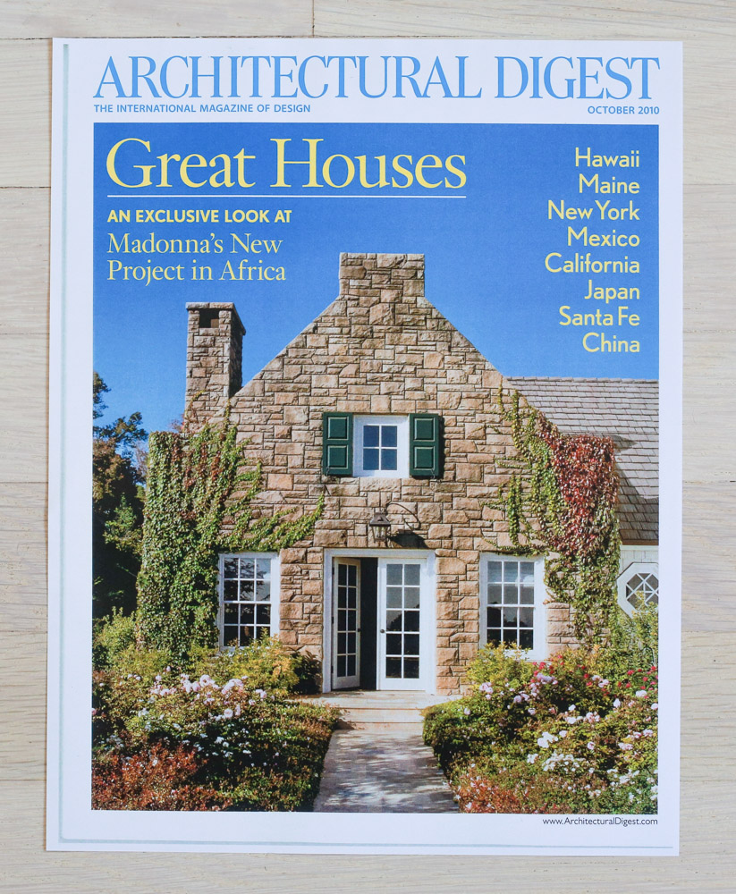 "Architectural Digest  , October 2010, ""Great Houses."" Editor-in-Chief, Paige Rense-Noland. Art Director, Jeffrey Nemeroff. Senior Editor (Architecture), Richard Olsen. Conde Nast Publications, Inc."