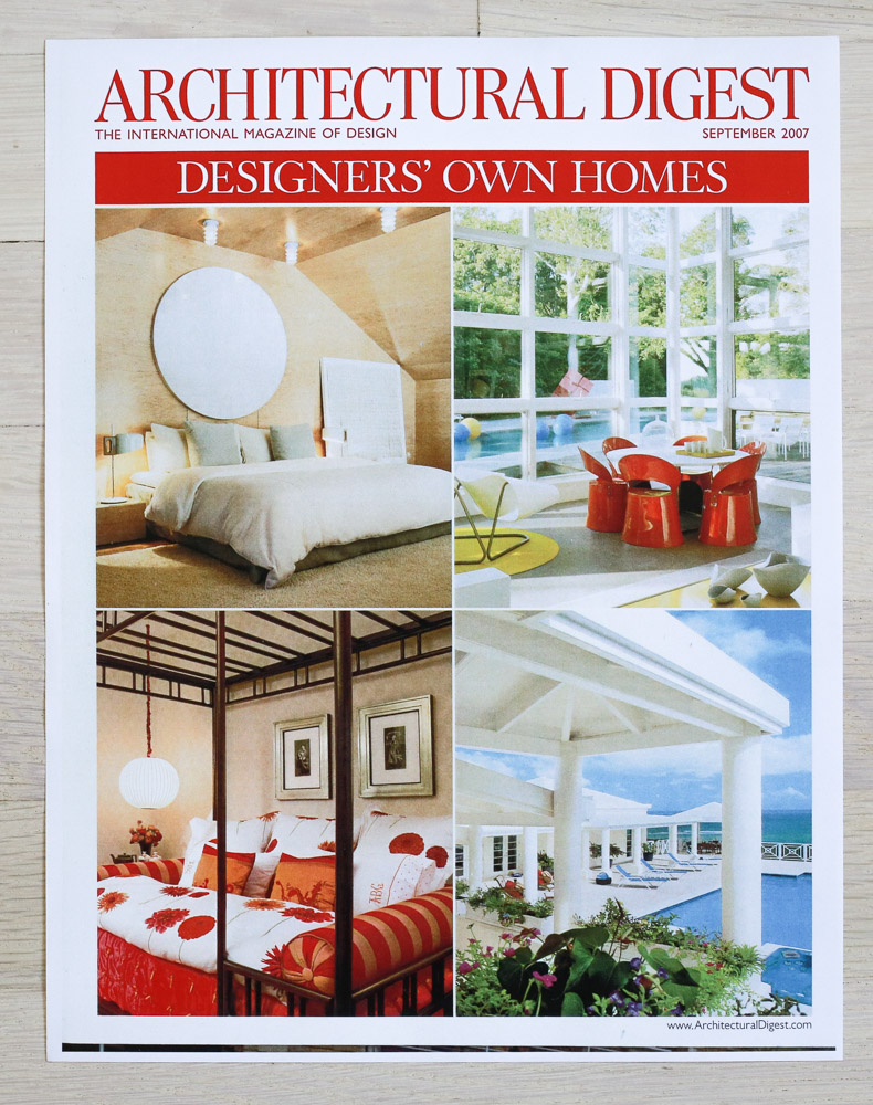 A    rchitectural Digest  , September 2007, Designer's Own Homes Issue. Editor-in-Chief, Paige Rense-Noland. Art Director, Jeffrey Nemeroff. Senior Editor (Architecture), Richard Olsen. Conde Nast Publications, Inc.