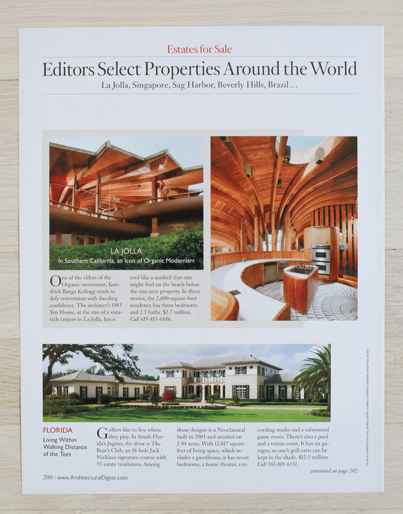 A    rchitectural Digest  , September 2007, Designer's Own Homes Issue. Editor-in-Chief, Paige Rense-Noland. Art Director, Jeffrey Nemeroff. Senior Editor (Architecture) and Real Estate Editor, Richard Olsen. Conde Nast Publications, Inc.