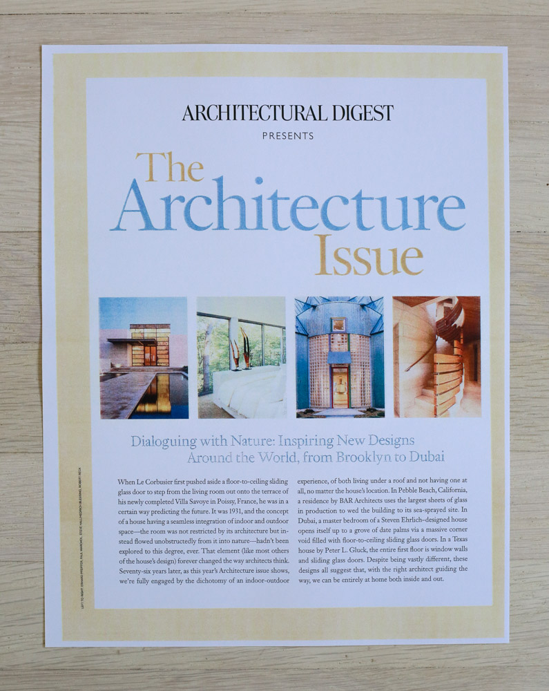 "Issue Intro by Richard Olsen.   A    rchitectural Digest  , October 2007, ""The Architecture Issue."" Editor-in-Chief, Paige Rense-Noland. Art Director, Jeffrey Nemeroff. Senior Editor (Architecture) and Book-Reviews Editor, Richard Olsen. Conde Nast Publications, Inc."