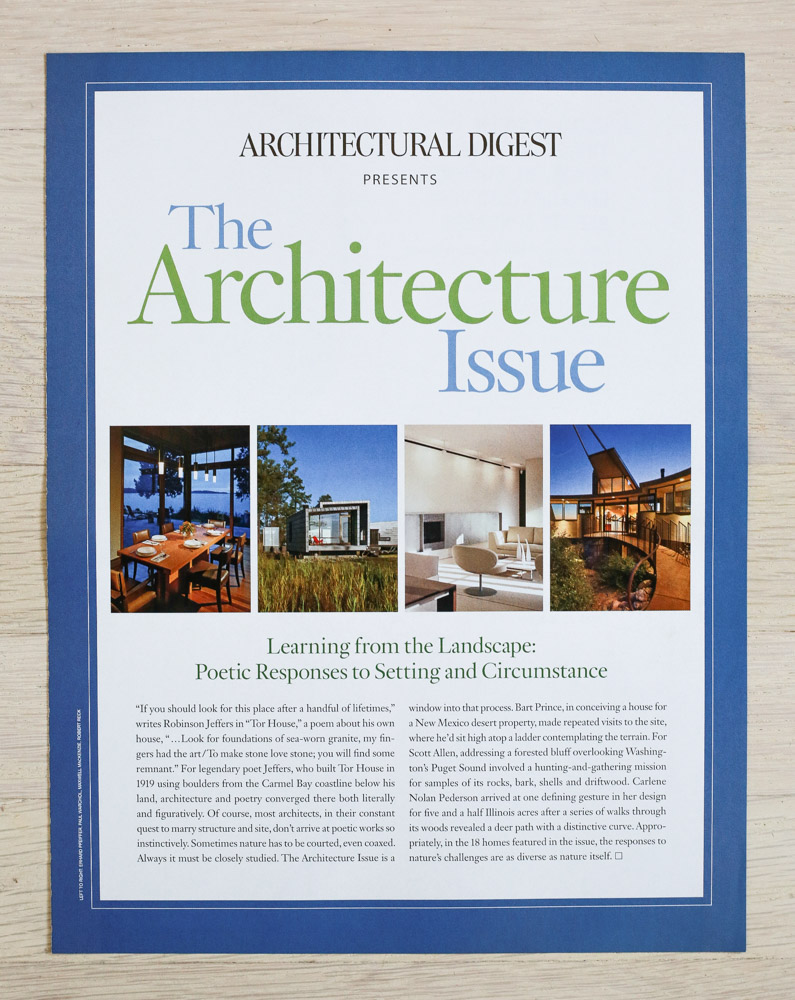 "Issue Intro by Richard Olsen.   A    rchitectural Digest  , October 2009, ""The Architecture Issue."" Editor-in-Chief, Paige Rense-Noland. Art Director, Jeffrey Nemeroff. Senior Editor (Architecture) and Book-Reviews Editor, Richard Olsen. Conde Nast Publications, Inc."