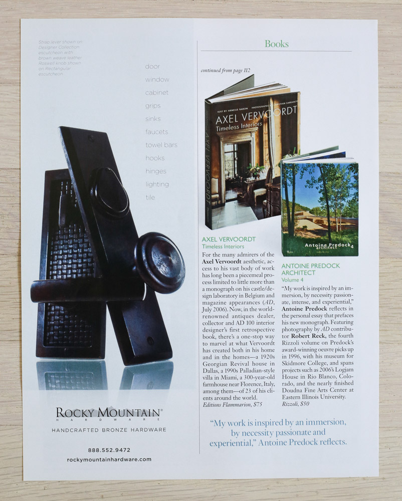 Book Reviews by Richard Olsen.   A    rchitectural Digest  , November 2007. Editor-in-Chief, Paige Rense-Noland. Art Director, Jeffrey Nemeroff. Senior Editor (Architecture) and Book-Reviews Editor, Richard Olsen. Conde Nast Publications, Inc.
