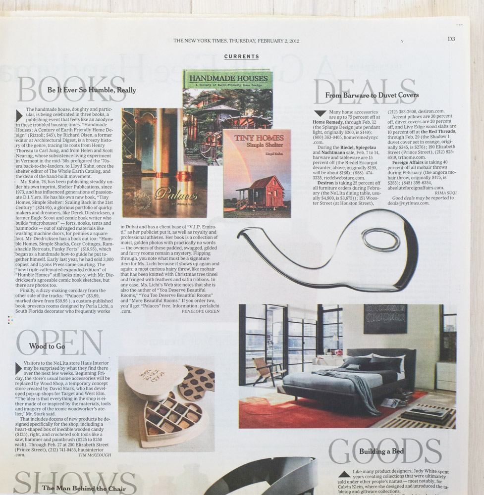 Handmade Houses   in   The New York Times  , February 2, 2012.
