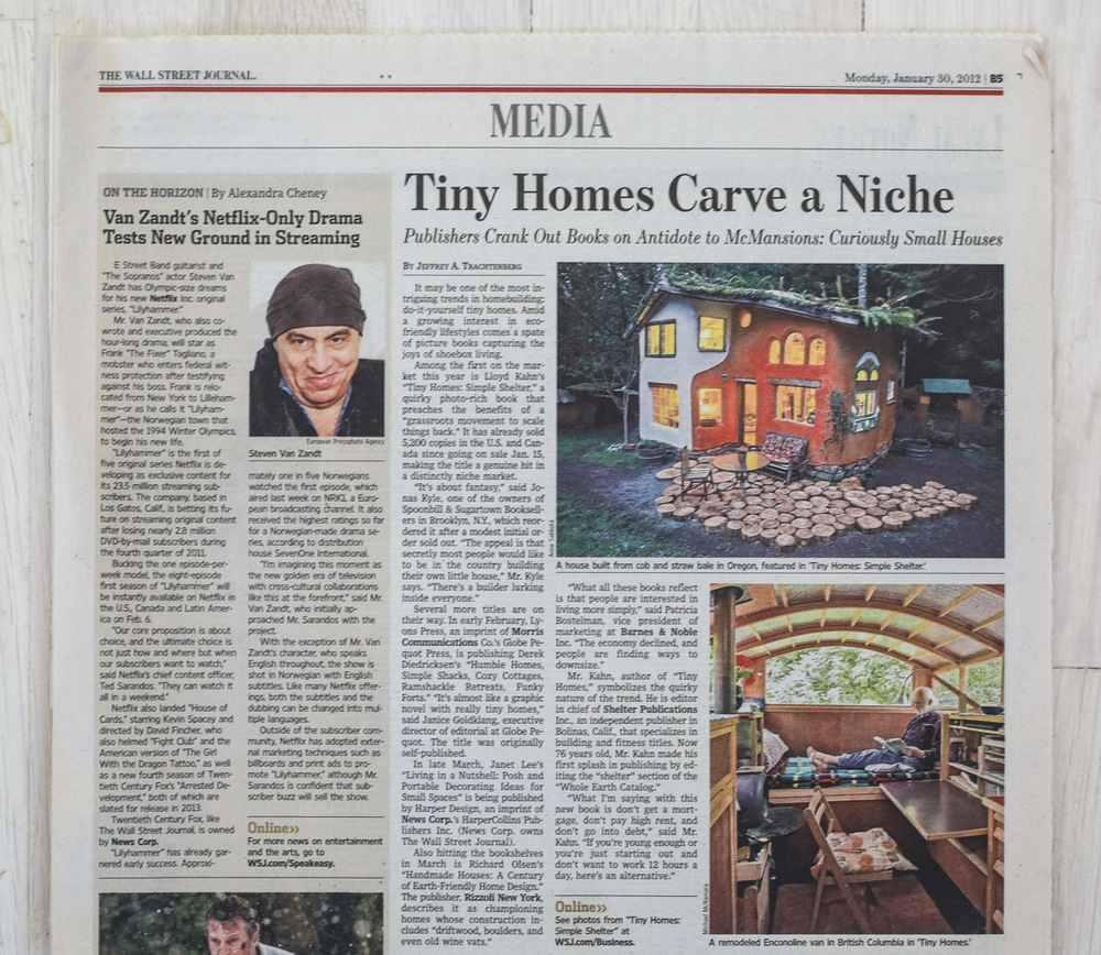 Handmade Houses  in   The Wall Street Journal  , January 30, 2012.