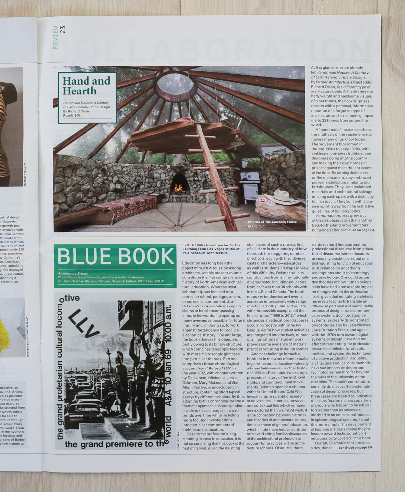 Handmade Houses  review by Carren Jao in   Architect's Newspaper  , July 18, 2012.