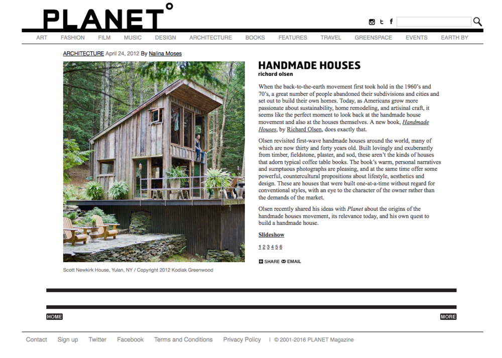 Handmade Houses   reviewed by Nalina Moses in   Planet   magazine, April 24, 2012.