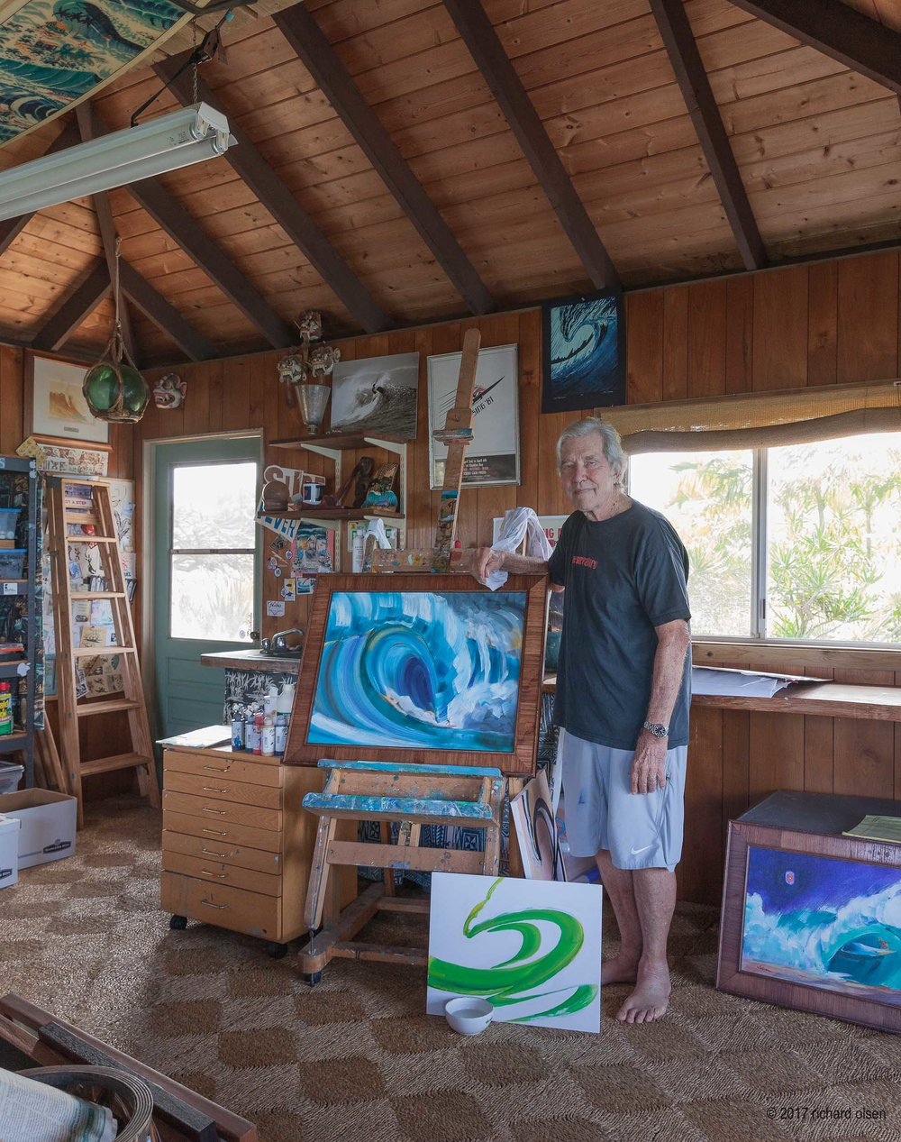 painter, filmmaker, and Surfer magazine founder john severson. severson studio, hawaii.