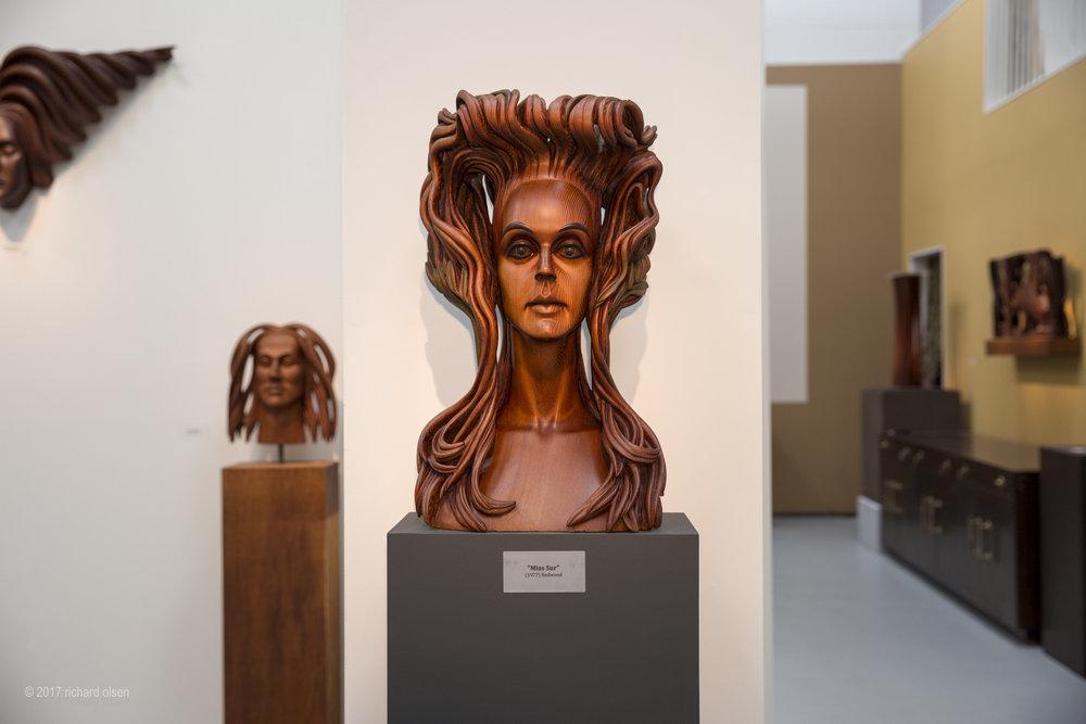 "bust of elizabeth taylor, for ""the sandpiper"" (1965), edmund kara retrospective. seadrift studio, sand city, ca. glen cheda, director."