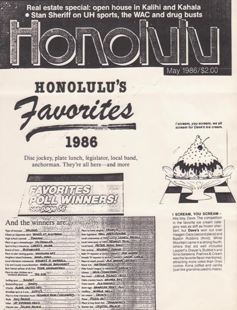 Voted Honolulu's Favorite Ice Cream in Honolulu Magazine. (May 1986)