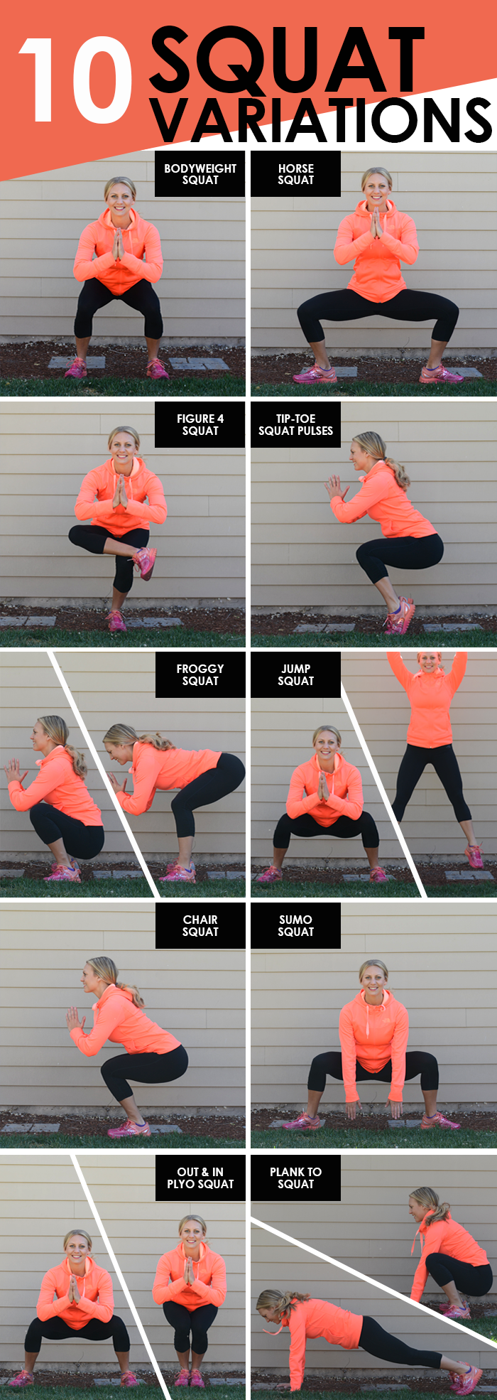 10 Squat Variations by Fit Foodie Finds. Click the title of each variation to visit each page!