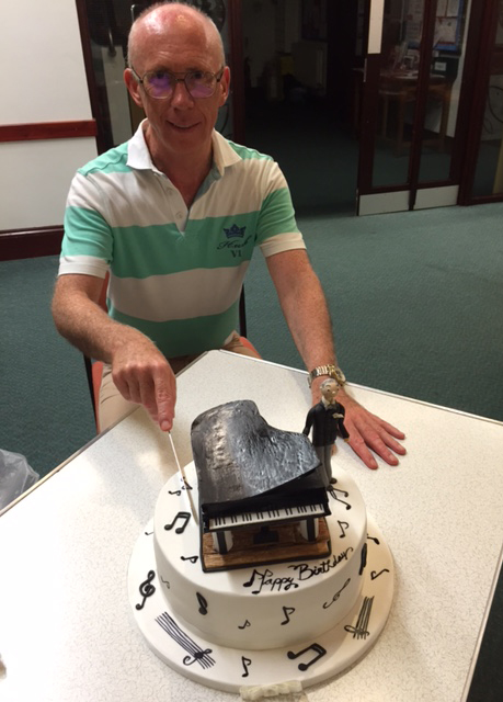 Our Musical Director, Christopher, with his specially-baked birthday cake!