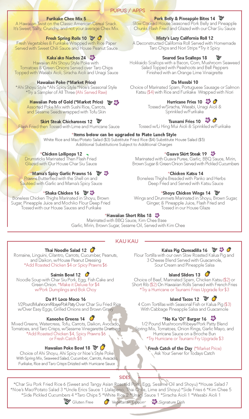Noelani's Dinner Menu FEB2017