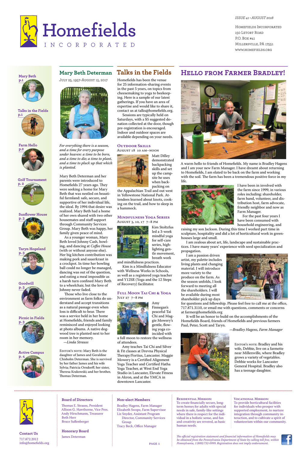 Our 41st newsletter is at the printer now. Click here to get a sneak peek.