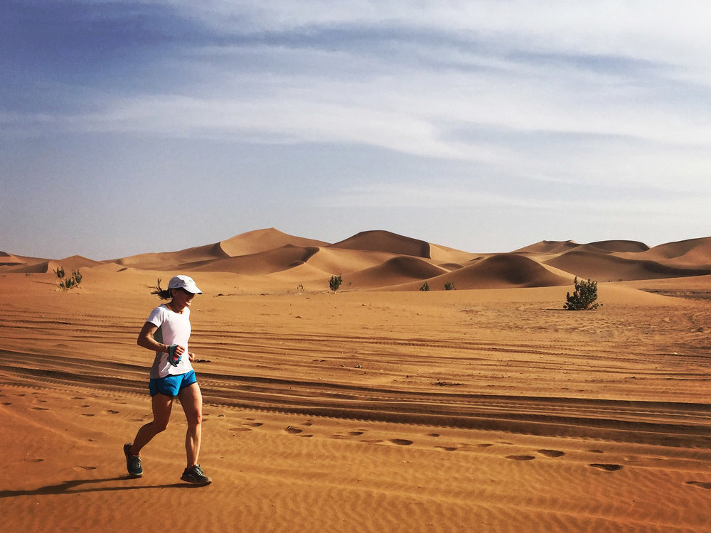 Liz closes out the last few (sandy!) miles to our camp in the Sahara.