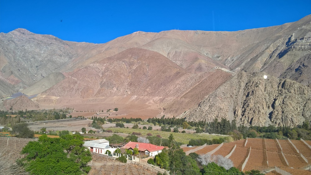 On our way to Pisco Elqui. Part of Valle de Elqui, which is the name of the general area.