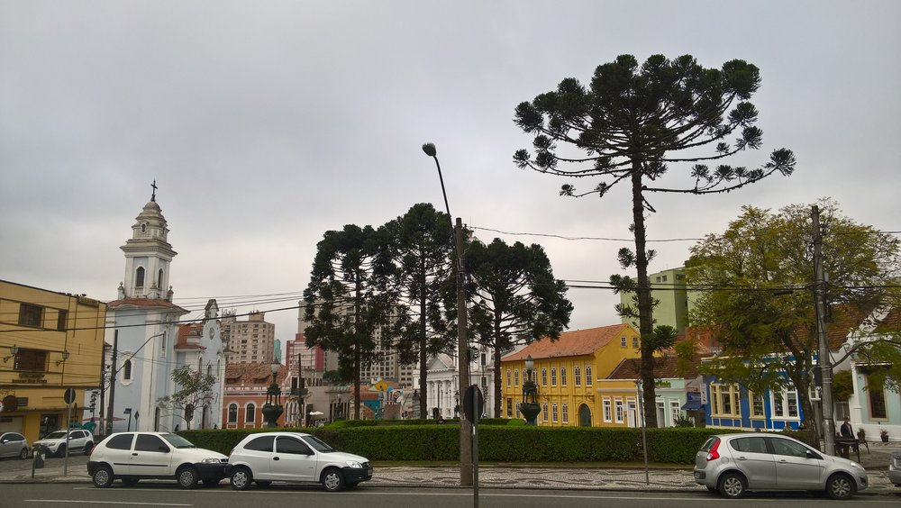 Historic district in Curitiba. Love the odd shaped trees in Brazil.
