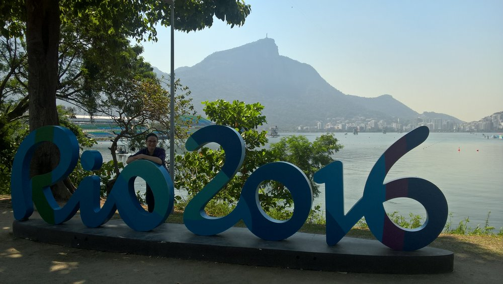 Rio 2016 and Christ the Redeemer on top of the mountain