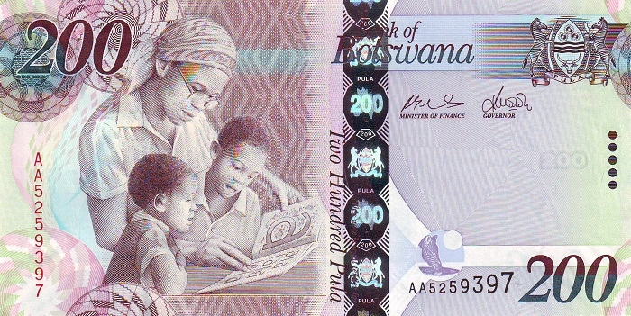 Botwana money is called 'pula', which also means 'rain'. Photo credit: worldbanknotes.com