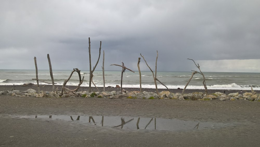 Hokitika's beach was not very appealing hangout spot during the rain.