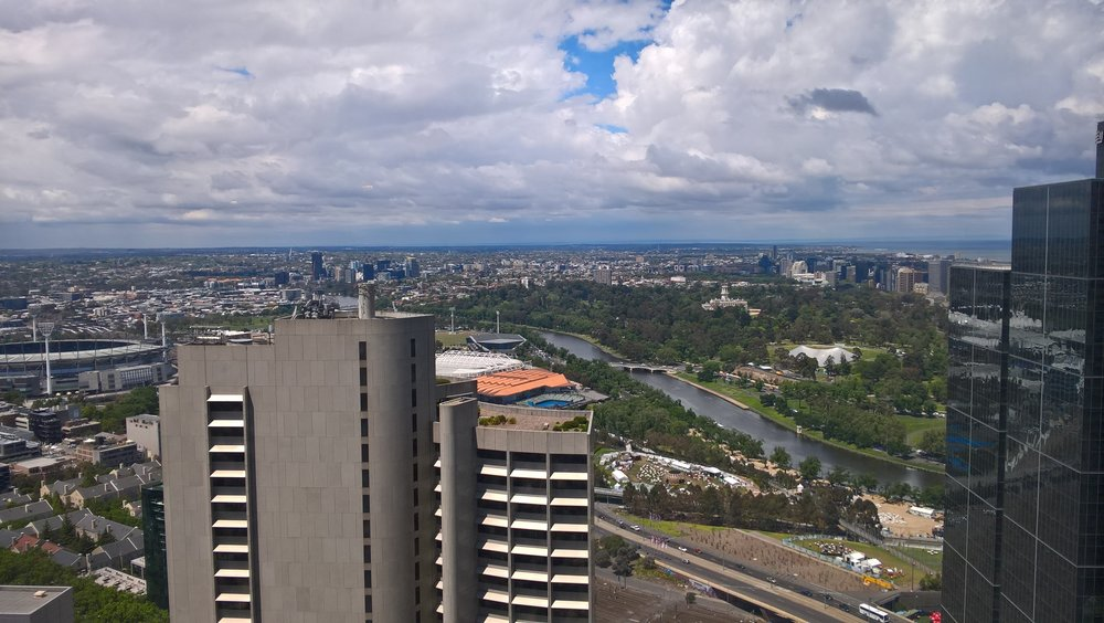 View of Melbourne from the Sofitel Hotel bathroom.