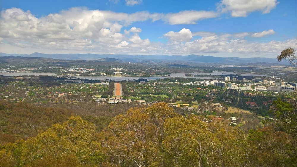 View of Canberra from Mount Ainslie Lookout.