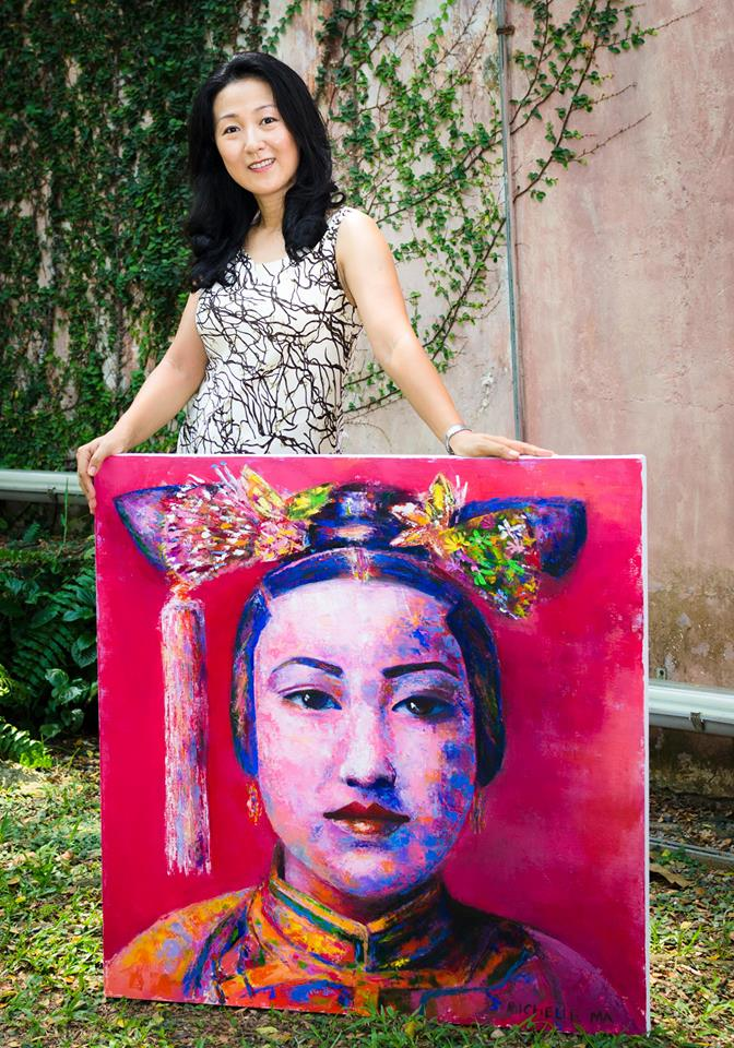 Artist Michelle Ma and Her Painting