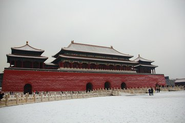 The Forbidden City in snow with quietness