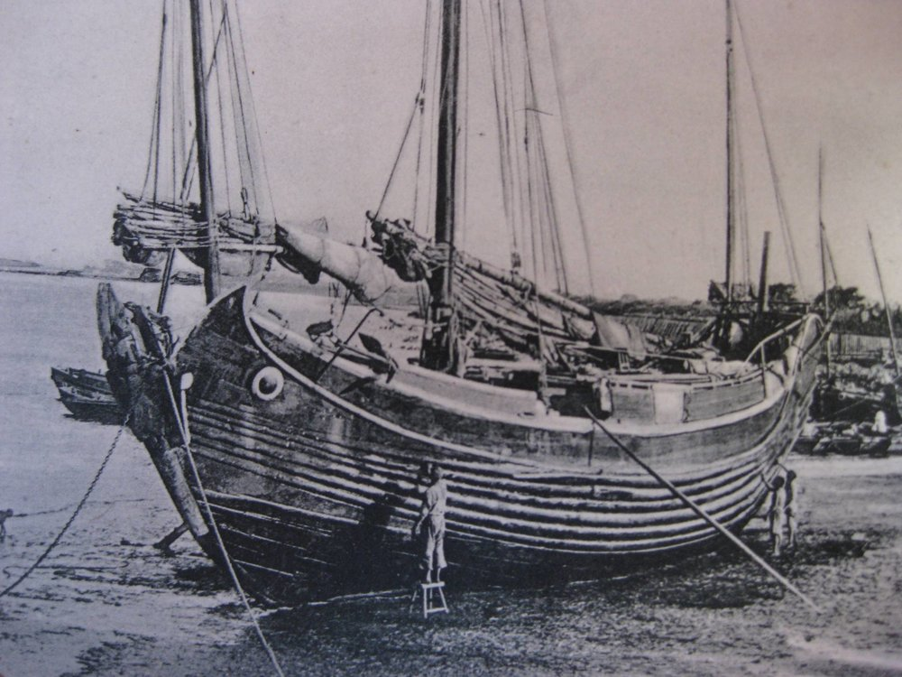 Chinese Junk Boat in the old dates