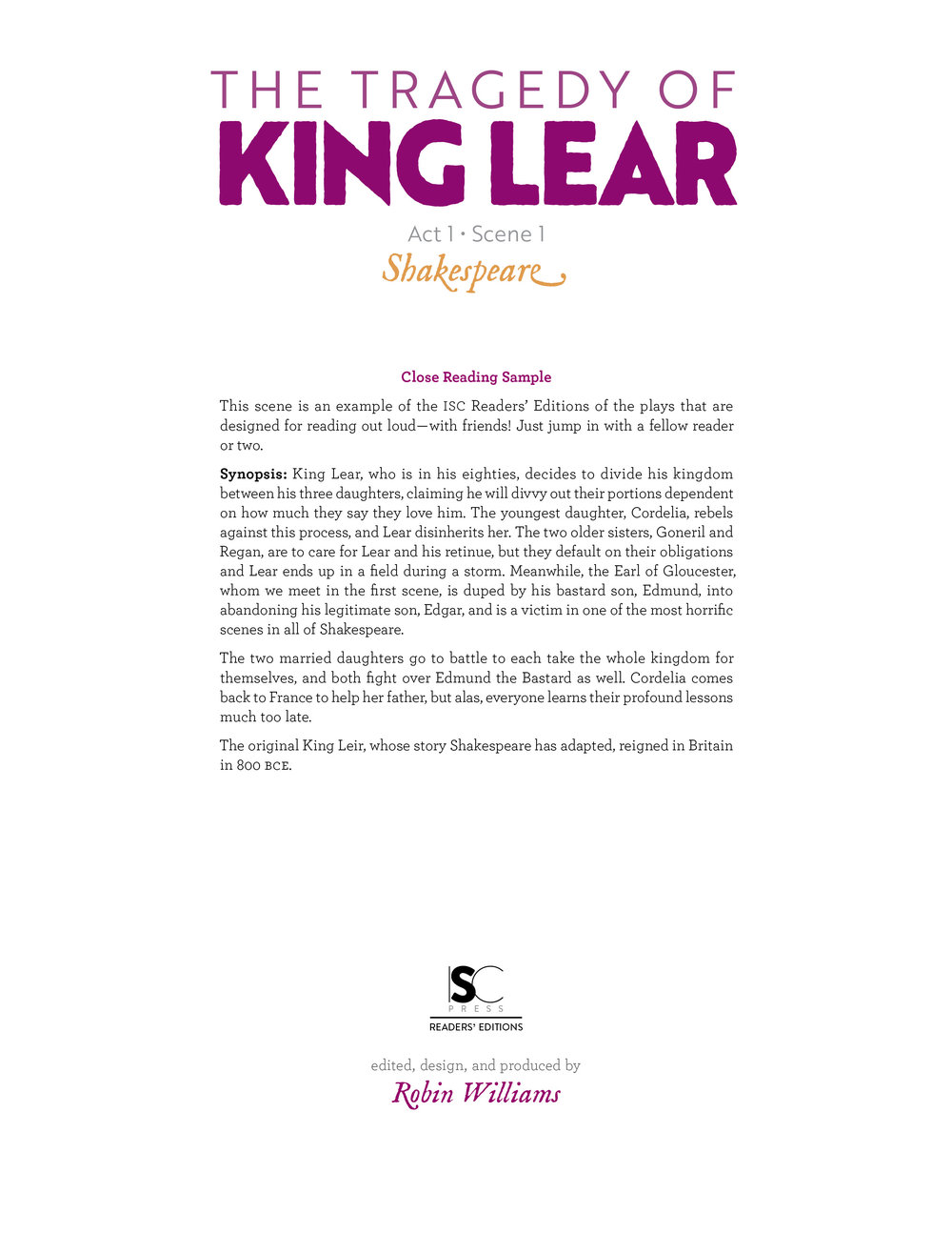 King Lear • Readers' Edition • iReadShakespeare.org