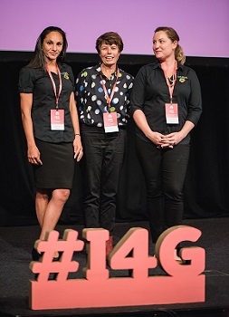 Waminda | Nyully Tucker  - Sophie Clayton (far right) at the NCOSS #I4G pitch 2017.