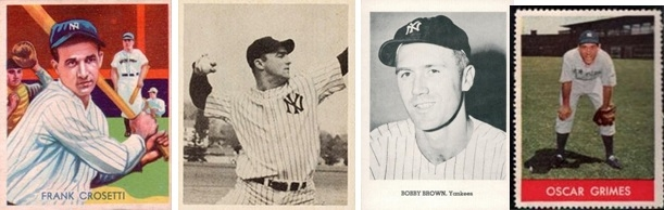 "A collection of third basemen: Frank Crosetti, Billy ""The Bull"" Johnson, Bobby Brown, and Oscar Grimes manned the position in the 1940's and into the early 1950's."