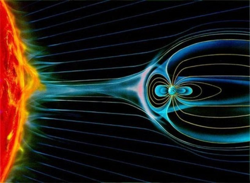 "Diffuse gas—called plasma—flows outward from the sun as the ""solar wind"" and carries with it solar magnetic field lines that become entangled with the Earth's own magnetic field lines. Location of ""holes"" were detected in indicated pink layers, near Earth.   Credit: Image courtesy of NASA."