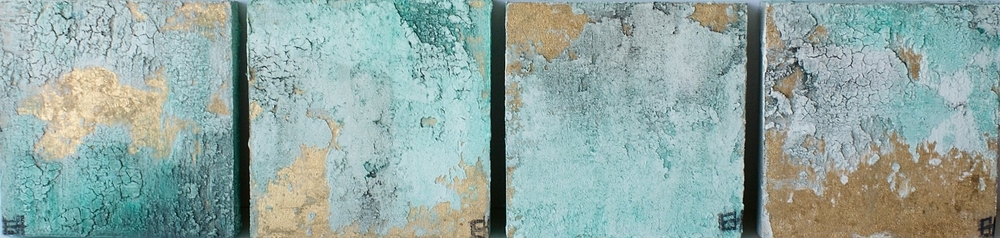 "Aquamarine Gold 5""x5"" (set of 4)-SOLD"