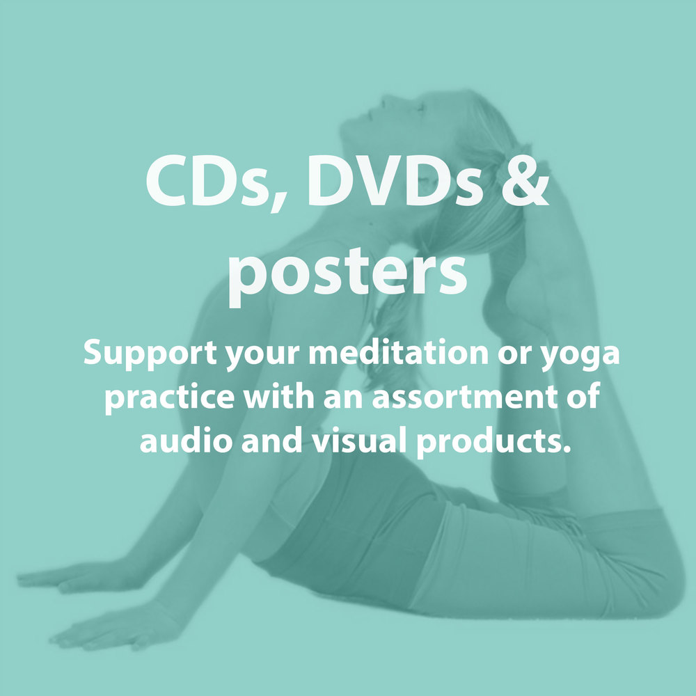 Peruse an assortment of audio and visual products to support your meditation or yoga practice.