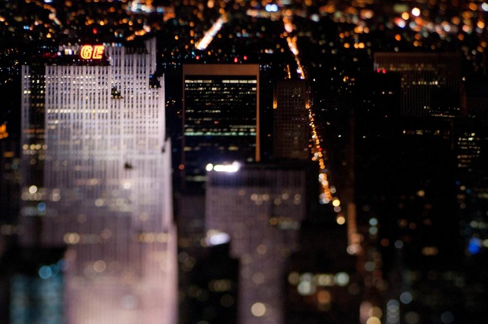 NYC Skyline at Night Tilt Shift