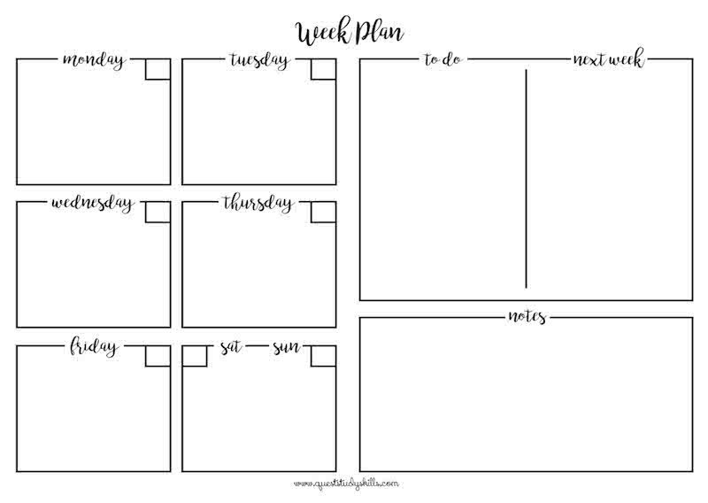 Graphically designed printable with Dailies, Tasks, Next Week Tasks and Notes.