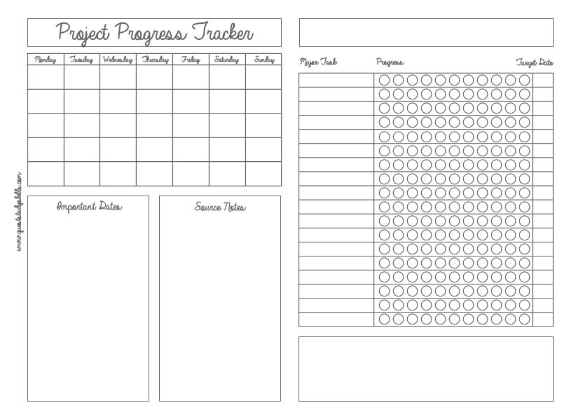 Printable for Project Progress Tracking. There's a few empty boxes to place headings, % weightings, and other notes.  The most important section is however the Major Tasks and their progress.