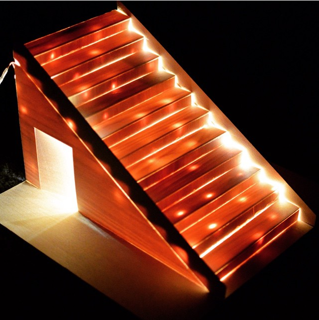 the cupboard under the stairs | lighting design model made by hand using LEDs