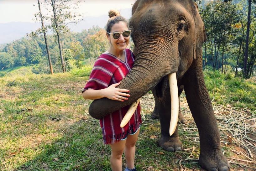 A hug from Prai at the Patara Elephant Farm in Chiang Mai, Thailand